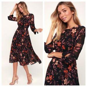 Lulu's Passionate Love Black Floral Midi Dress NEW